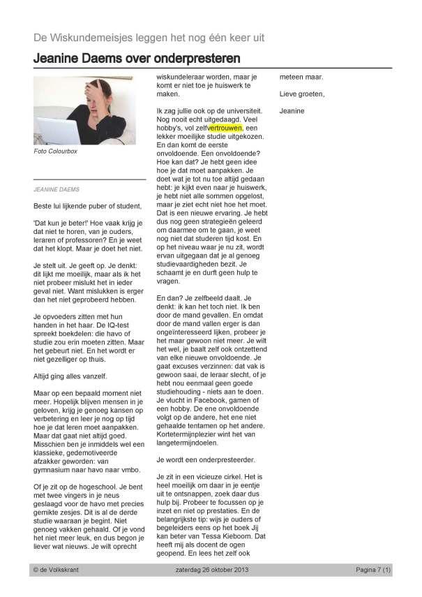 Volkskrant-Wiskundemeisjes-Onderpresteren-26-10-2013